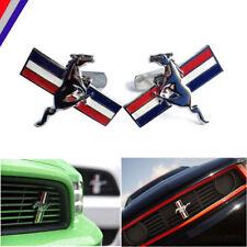 New Billet Chrome Running Pony Horse Tri-Bar Grille Emblem Badge fits Mustang GT
