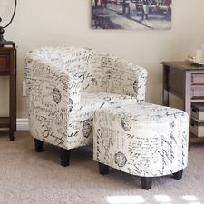 French Script Pattern Club Arm Chair w Ottoman Boho Modern Contemporary Style