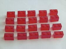 Lego 3065# 20x Basic piedra 1x2 transparente rojo 7163 9476
