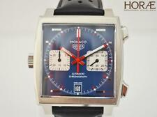 Tag HEUER MONACO Steve McQueen Calibre 11 Steel Leather CHRONO AUTOMATIC blue