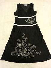 Black & White Linen Floral embroidered Long flared Dress Wedding Races Cruise 14