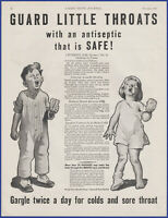 Vintage 1931 LISTERINE Antiseptic For Colds and Sore Throat 30's Print Ad