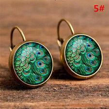 Elegant Round Stud Ear Vintage Women Girls Lady Crystal Flower Hoop Earrings NY