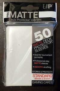 1 Pack 50 Ultra Pro White Pro-Matte Deck Protector MTG CCG Gaming Card Sleeves