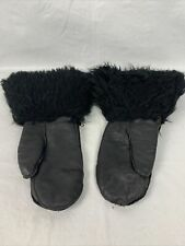 Vtg Black Leather Snowmobile Mittens Fur Cuff Lined Men's Size Medium