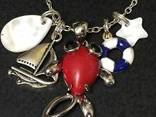 "Fish Red Coral Sailboat Lifesaver Beach Tibetan Silver with 18"" Necklace"