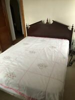 Beautiful Vintage Hand sewn White Bedspread Coverlet Pink Floral cross stitch