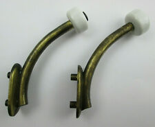 Pair of Contemporary Rustic Brass Finished Coat Hooks with Ceramic Protectors