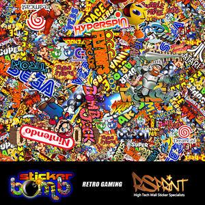 StickerBomb Colour Sticker Graphic Artwork Wrap Multipurpose RetroGame Theme Lrg