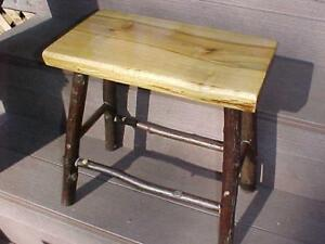 rustic SILVER MAPLE/HICKORY TABLE/STOOL~log home/cabin furniture~decor