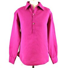 COTTON TRADERS Linen Blend Long Sleeve Summer Top Blouse S Pink Collar Button