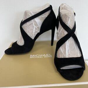 Michael Kors Estee Women's UK 2 EU 35 Black Suede Leather High Heel Sandals