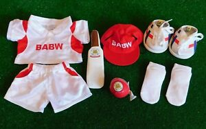 Build a Bear Sports Cricket Outfit, Bat, Ball, Hat, Socks, Trainers