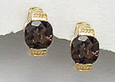 Yellow Gold over 6.5g Sterling Silver Smokey Topaz Vermeil Huggies Earrings 14mm