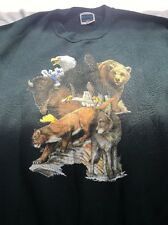 Vintage 90s Wolves Wolf Crewneck Sweatshirt Size XL Wolfpack Animal Art