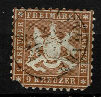 Wurttemberg SC# 39, Used, Mixed Condition, repaired, clipped corner-  Lot 022617
