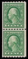 US #410 1912 1c Washington Line Pair, Mint F/VF NH OG. Free Shipping