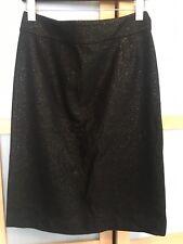J. Crew Black Gold Glitter Wool Pencil Skirt Career Professional Women's Size 6