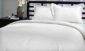 Luxury Soft 100% Egyptian Cotton 600 Thread Count Stripe Damask Duvet Cover Set