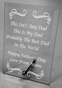 Engraved Personalised Fathers Day Glass Plaque