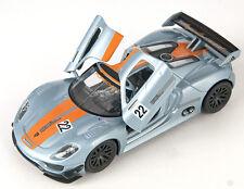 BLITZ VERSAND Porsche 918 RSR silberblau Welly Modell Auto 1:34 NEU & OVP