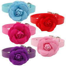 2pcs/lot PU Leather Puppy Dog Collars and Leads with Flower for Chihuahua XS-L