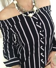 ZARA BASIC WOMENS BLOUSE STRIPED COTTON OFF SHOULDER BUTTONS BLACK WHITE  SZ XS