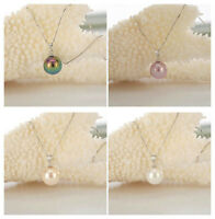 14MM White Pink Purple Black Sea Shell Pearl Round Beads Pendant Necklace