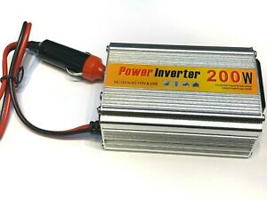 12vdc 200 Watts DC to AC 110vac Compact Power Inverter 1 AC Outlet USB Port A28