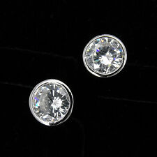 Round 18K White GP Gold Plated Stud Stick Earring Cubic Zirconia Clear Cut Jewel