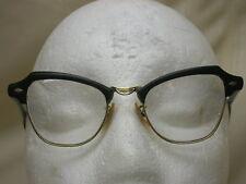 """Vtg Bousch & Lomb Black Gold Filled Eye Glasses 1/10 12k 5 1/2 Arm 4 3/4"""" Front"""