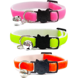 Velvet Cat Collar with Bell - Soft Pet Collars   Safety Release Cat Collars