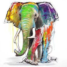 "KOMBI KUNSTDRUCK & ORIGINAL MALEREI ""JUMBO"" 70x70cm auf LEINWAND Elefant HECTOR"