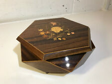 REUGE 6 SIDED WOODEN INLAY JEWELRY MUSIC BOX ITALY