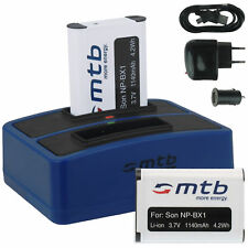 2x Baterìa + Cargador doble (USB) NP-BX1 para Sony Action Cam HDR-AS100V, AS200V