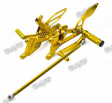 Adjustable Rearsets Foot Pegs Rear Set Gold Fit 2006-2009 YAMAHA YZF R6S RJ09