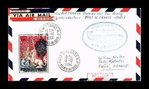 DR JIM STAMPS FORT DE FRANCE PARIS AIRMAIL FRIST FLIGHT BACKSTAMP COVER