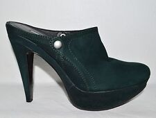 VERA WANG LAVENDER NEW $395 9 M 40 DARK FOREST GREEN LEATHER PLATFORM MULES CLOG