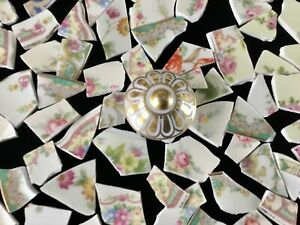 Broken China Mosaic Tiles ~ SHABBY CHIC GARDEN FLORALS & Gold Knob 90+ Pieces
