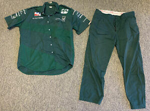 vintage AJ FOYT CONSECO pit crew shirt and pants ~ size XL ~ green