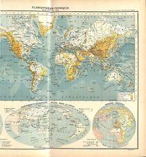 Planisphère physique relief du sol rapport des mers et terre sous MAP CARTE 1896