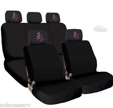 New 4X Car Red Pink Hearts Logo Headrest and Black Cloth Seat Covers For Kia