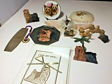Vintage Lot of 12 Yorkshire Terrier Dog Yorkie Collectibles - Resin - Plates Etc