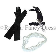LADIES CHARLESTON HEADBAND PEARLS AND BLACK GLOVES 1920'S FLAPPER FANCY DRESS