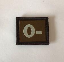 0- Negative Blood Group Patch Badge, Tan Army, Military Hook & Loop