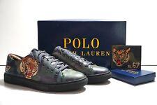 Polo Ralph Lauren Jermain Tiger Calfskin Sneakers Sz 7.5 & Card Case Wallet Set