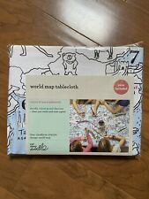 Eat Sleep Doodle World Map Tablecloth with Washable Fabric Markers