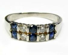 Diamond Blue Sapphire Wedding Band Cocktail Anniversary Ring 14K White Gold VdEo
