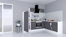 Winkelküche Küchenzeile Küche L-Form Einbauküche 260x200 cm Weiß Grau respekta