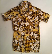 VTG NOS Mens XS HAWAIIAN Shirt MADE IN HAWAII Brown White Tapa Print BarkCloth